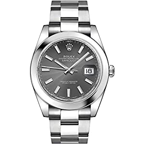 Fashion Shopping Men's Rolex Datejust 41 Dark Rhodium Dial Oystersteel Watch (ref. 126300)