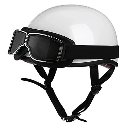 Gorra de calavera de estilo alemán, medio casco de motocicleta aprobado por ECE con gafas, casco retro de ciclomotor para motocicleta, unisex,C,XL