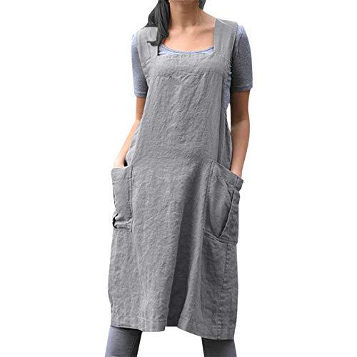 Aiserkly Damen Vintage Cross Back Lässig Baggy Pinafore Midi Kleid Casual Kleid Knielang Hauptkleid Westenkleid Grau S