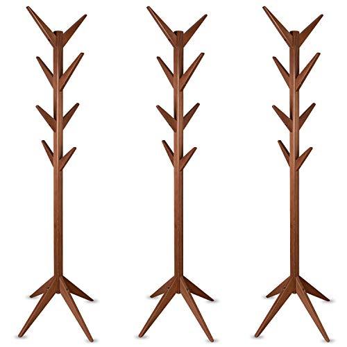 Staboos 3er Set Massiver Garderobenständer Holz - Buchenholz Baum Garderobe mit Werkzeug - Jackenständer als Äste Garderobe - Standgarderobe (Nussbaum)