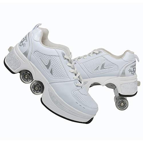 SHANGN Inline-Skate, 2-in-1-Mehrzweckschuhe, Verstellbare Quad-Rollschuh-Stiefel,White-37