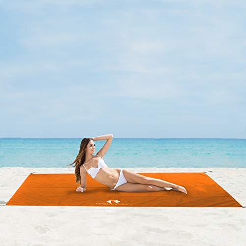 Red Suricata Sand Free Beach Mat - Wasserdichte Sand Less Beach Blanket - Kompatibel Familie Strand Sonnenschutz Vordach - Für Strand, Picknick, Camping Large Orange