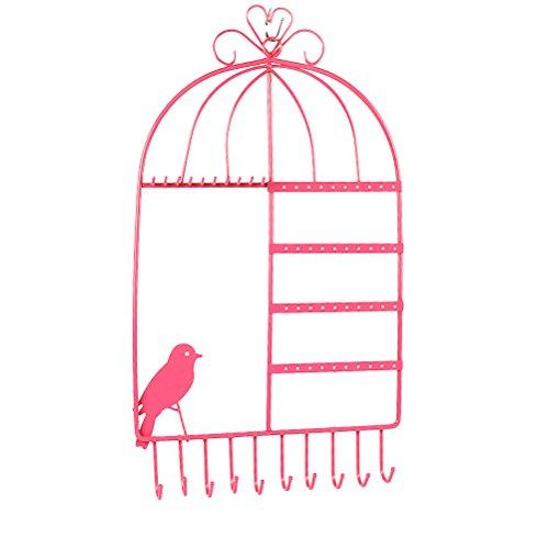 LUOEM Schmuckhalter Wand Schmuck Organizer Vogelkäfig für Ohrringe/Ketten/Armbänder (Rosa)