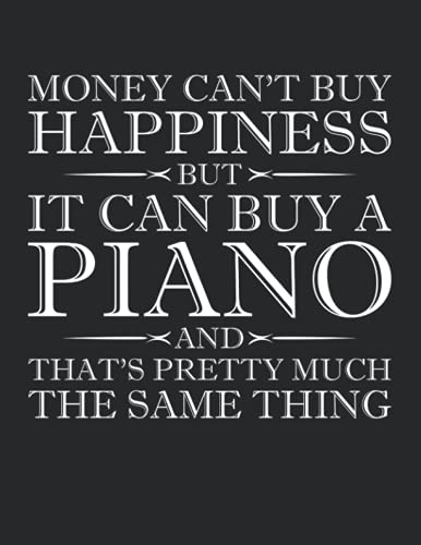 Money Can't Buy Happiness But It Can Buy A Piano And That's Pretty Much The Same Thing Notebook - Large 8.5 x 11 inches - 110 Pages