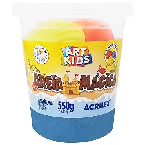 Massa Areia Mágica, Acrilex, Azul, 550g, Com Moldes