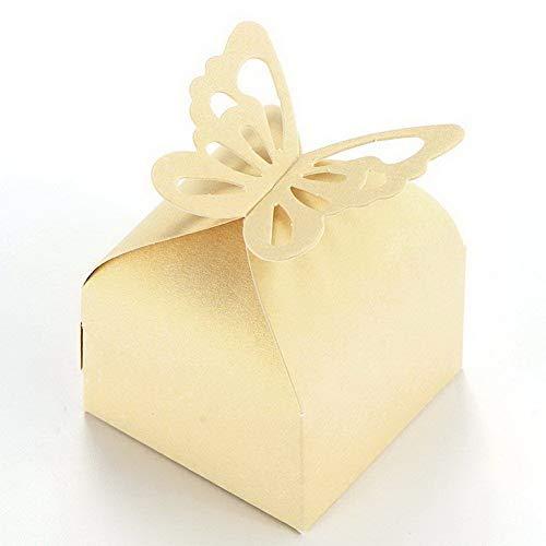 SurePromise fitTek 50 Scatole in Carta Beige con Farfalla Porta Caramelle Cioccolatini Decoro Nozze
