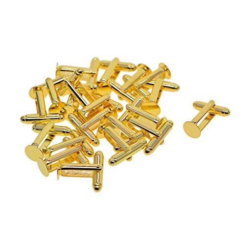 Vektenxi 20 Stück Messing Gold Manschettenknöpfe Rohlinge Männer 's Classic Shirt Smoking Manschettenknöpfe Cabochon Runde 8mm Lünette Fach für Hochzeitsgeschäft tragbar und nützlich