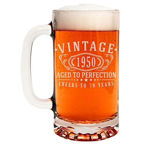 Image of the Vintage 1950 Etched 16oz Glass Beer Mug - 70th Birthday Aged to Perfection - 70 years old gifts
