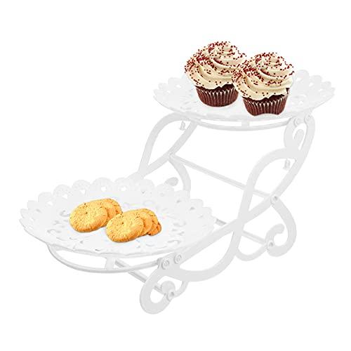 UPKOCH Soporte para cupcakes de plástico creativo en forma de bicicleta de 2 pisos, postre, marcon, galletas, para servir, para el día de San Valentín, bodas, fiestas, decoración