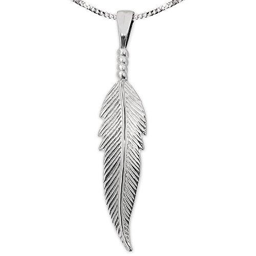 Clever sieradenset zilveren dames hanger veer 36 mm lang zeer plastic met 3 bolletjes gebonden glanzend & pantserketting 50 cm sterling zilver 925