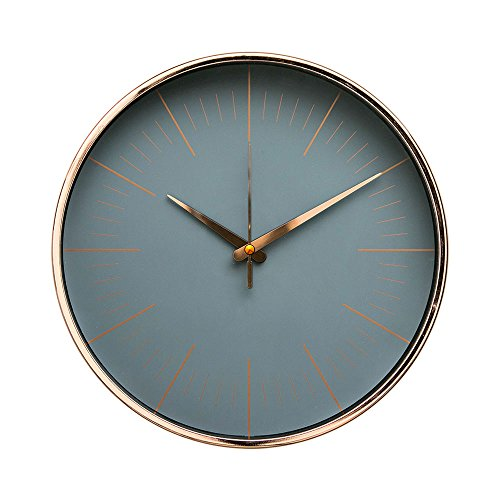 """Arospa luxury modern 12"""" silent non-ticking wall clock with rose gold frame (gray slate)"""