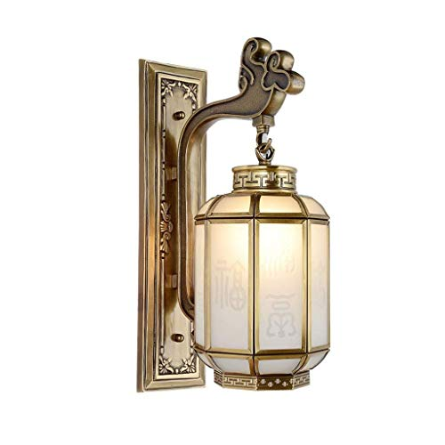 PSOU Wandlamp- Retro zuiver koper wandlamp slaapkamer kamer nachtkastje antiek hotel clubhuis trappen aisle-lichten 28x42cm