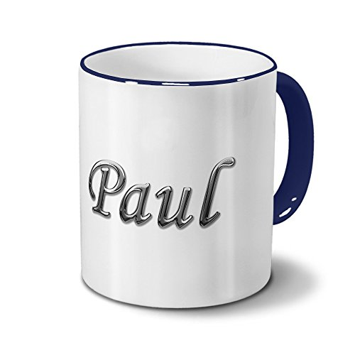 Tasse mit Namen Paul - Motiv Chrom-Schriftzug - Namenstasse, Kaffeebecher, Mug, Becher, Kaffeetasse - Farbe Blau