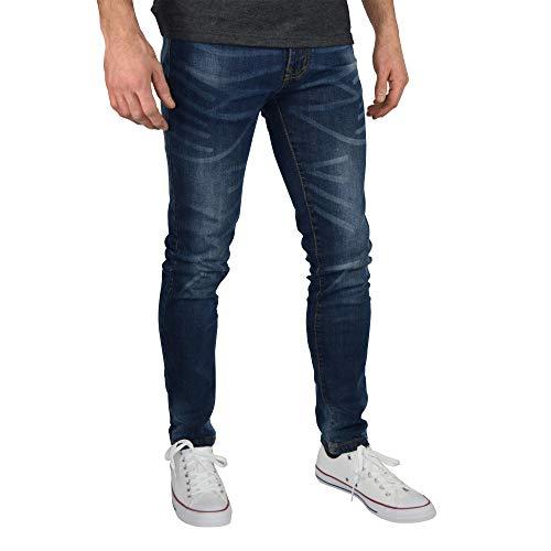 BlauerHafen Herren Slim Fit Jeanshose Stretch Designer Hose Super Flex Denim Pants (34W / 30L, Dunkelblau)