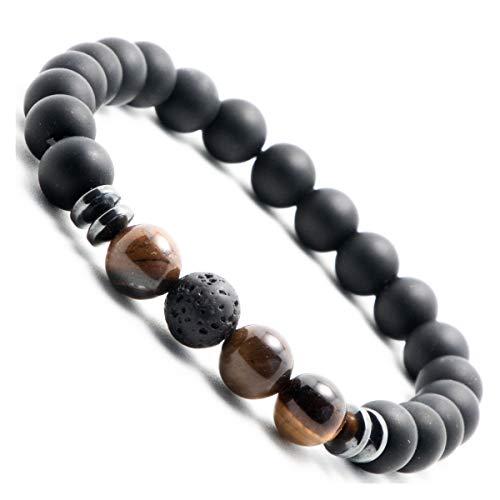 Jet black onyx pearl bracelet for men pearl bracelet with lava stone pearl bracelet with natural stone (dark brown) Onyx Braun(small 17-18cm)