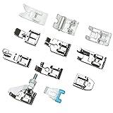 11 Piezas Accesorios Maquinas de Coser, Coser Doméstica Prensatelas, Prensatelas Dobladillo Enrollado, para Máquinas de Coser Universales Costura Doméstica (Plata)