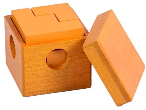 QIU PING - Puzzle de madera para adulto, 7 cajas, cubo de soma, luban, juguete de bloqueo talla única 7 Cubes of Dark Yellow