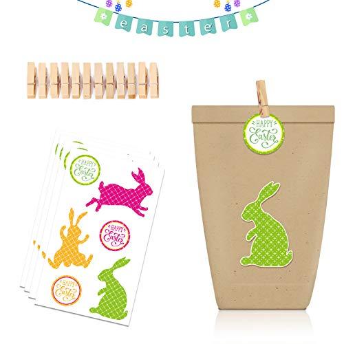 Geschenktüten zu Ostern,12 Geschenktüten Kraftpapier, Mit Deko-Aufklebern &Holzklammern geeignet für Festival,Für Kindergeburtstag Hochzeit Ostertüten Candybag usw (Grün)