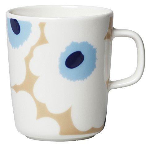 Marimekko - UNIKKO Mug - Henkelbecher - Kaffeebecher - Steingut - 250 ml - beige, Off White, Blue/beige, naturweiß, blau