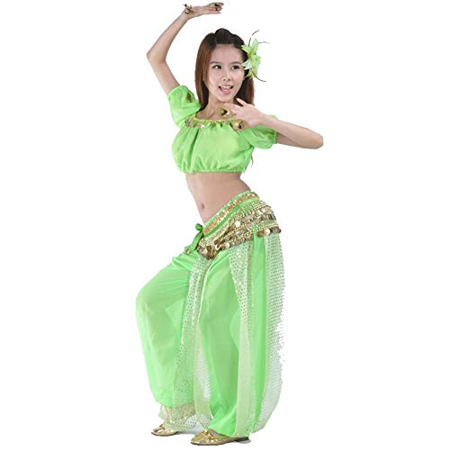Kraag Full-light Lantaarn Set (driedelig) Pure Color Belly Dance Competition Suit Geschikt voor buikdans, etnische dans, Arabische kostuum
