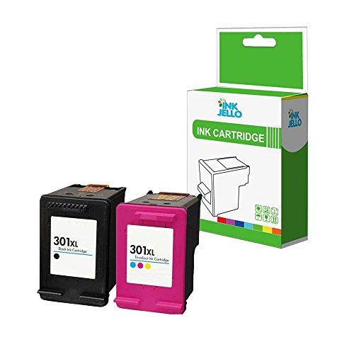 Inkjello cartucce d  inchiostro rigenerate di ricambio per HP Deskjet 1000 1010 1050 1050 a All-in-One 1510 1512 1514 2050 2050 a 2050s 2510 2512 2540 2542 2544 301 x LBK C (nero tri-colour, 2-pack)