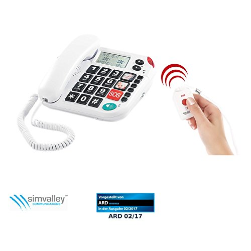 simvalley communications Notruf-Senioren-Telefon XLF-80Plus mit Garantruf, weiß