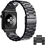 Simpeak Armband kompatibel mit Apple Watch 44mm/42mm Series 6/SE/5/4/3/2/1, Edelstahl Uhrenarmband Ersatz Armbänder mit Metallschließe Kompatibel für Apple Watch - Schwarz