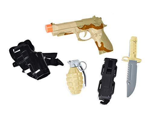 Sunny Days Entertainment Pistol Toy Play Set – 5 Piece Military Toys for Kids | Cowboy Sheriff Pistol with Holster and Adjustable Belt | Role Play Dress Up Costume Accessories – Maxx Action