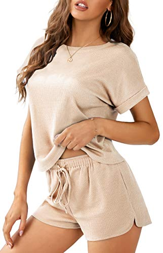 Aifer Women's Waffle Knit Pajama Set Short Sleeve Top and Shorts Jogging Suit Loungewear Athletic Tracksuits with Pockets Beige