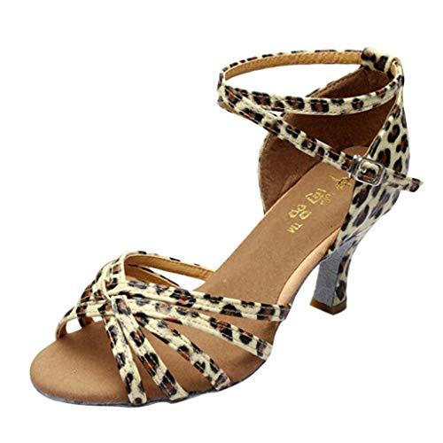 Dasongff Salsa Tango Shoes voor dames, met hoge hakken, geschikt als dansschoenen, voor dames en heren, met goudkleurige haren