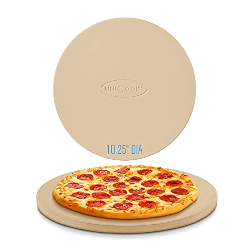 Unicook Pizza Stone, 10.25 Inch Round Pizza Grilling Stone, Small Pizza Stone for Oven, Baking Stone, Perfect Size for Personal Pizza, Ideal for Baking Crisp Crust Pizza, Bread, Cookies and More
