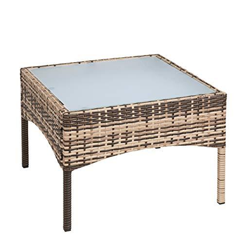 ESTEXO Polyrattan Beistelltisch Rattan Tisch Gartentisch Balkontisch Loungetisch Möbel (Beige/Braun)
