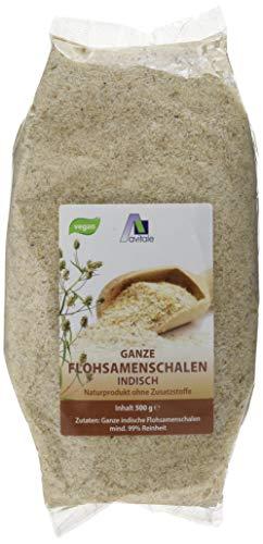 Avitale Ganze Flohsamenschalen aus Indien, 99% Reinheit, reich an Ballaststoffen - Geprüfte Lebensmittel-Qualität aus Indien - Verpackt in Deutschland, 1er Pack (1 x 500 g)