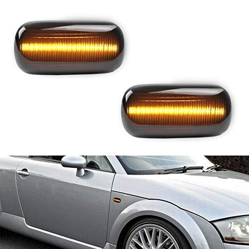GemPro 2Pcs Amber LED Side Marker Turn Signal Light Compatbile for Audi A4 S4 B6 B7 A6 C5 TT A8, Smoke Lens Style Black