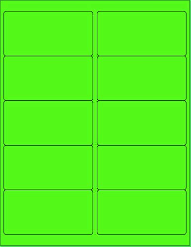 """8-1/2 x 11"""" Neon Color High Light Fluorescent Labels for Laser & Inkjet Printer (Green Fluorescent, 4 x 2"""" - 10 Per Page 