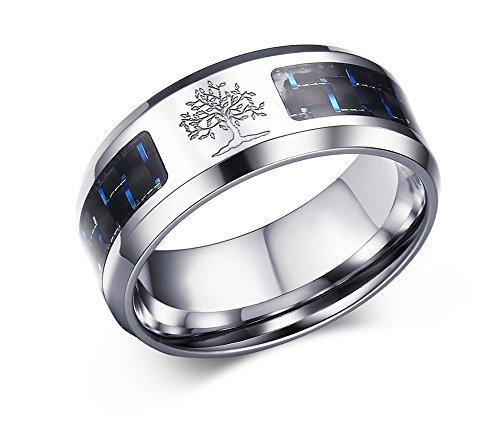 VNOX Acciaio inossidabile da uomo Nero Blu Fibra di carbonio Intarsiato Albero genealogico della vita Wedding Band Ring per Promessa 8mm