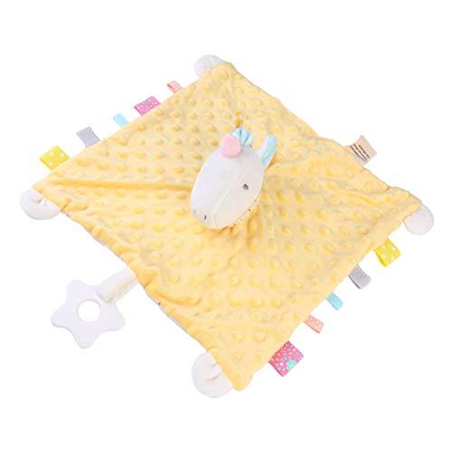 TOYANDONA Baby Sicherheitsdecke Ausgestopfte Einhorn Baby Liebesdecke für Baby Mädchen Oder Jungen Neugeborene Kleinkind (Gelb)