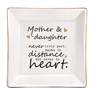 ElegantPark Mom Gifts for Mom from Daughter Ceramic Ring Dish Daughter Birthday Gifts from Mom Square Trinket Jewelry Dish for Girls Daughter Gifts for Christmas Graduation Present