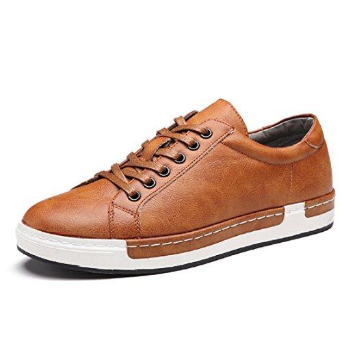 Zapatos de Cordones para Hombre Conducción Zapatillas Cuero Casual Shoes Attività Commerciale Sneakers Negro Gris Marrón Amarillo 38-48 Amarillo 45