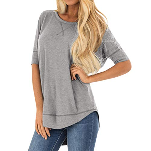 Great Price! Lovor Women's Tops Short/Long Sleeve Side Split Crewneck Solid Blouses Casual Shirts Tu...