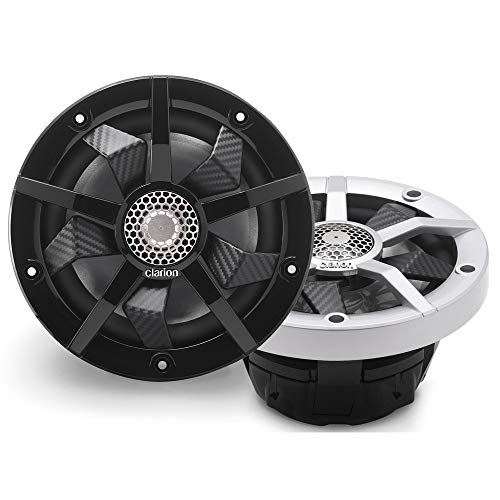 Clarion CM1623RL 6.5-inch 2-Way Marine Speakers 80W RMS Power handling Built-in RGB Illumination Includes Black & Silver Grilles Water Resistant: IP55 Front