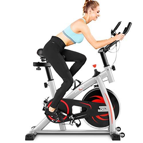HEKA Bicicleta Estática de Casa para Entrenamiento Indoor, Bicicleta Spinning Profesional, Resistencia Variable, Altura Ajustable, Pantalla LCD (Tener APP, Gris)