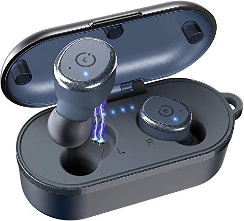 TOZO T10 Bluetooth 5.0 Wireless Earbuds with Wireless Charging Case IPX8 Waterproof TWS Stereo Headphones in Ear Built in Mic Headset Premium Sound with Deep Bass for Sport Black(Renewed)