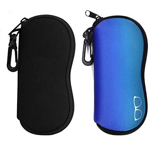 2 Piezas Funda gafas suaves, Estuche de gafas de sol antiarañazos, Bolsa de anteojos portátil con cremallera de neopreno, protector y ligero, con mosquetón, para hombres y mujeres (negro, azul)