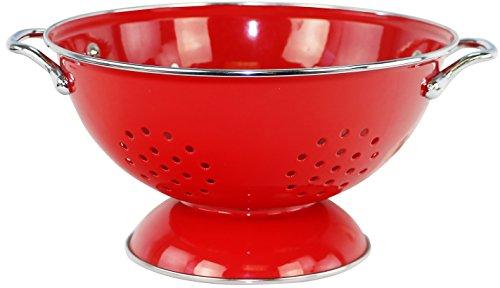 Calypso Basics by Reston Lloyd Powder Coated Enameled Colander, 3 Quart, Red