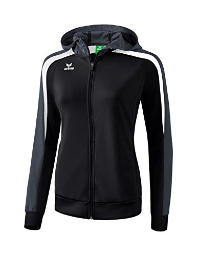 Erima Damen Liga LINE 2.0 Trainingsjacke mit Kapuze, schwarz/Weiß/du, 38