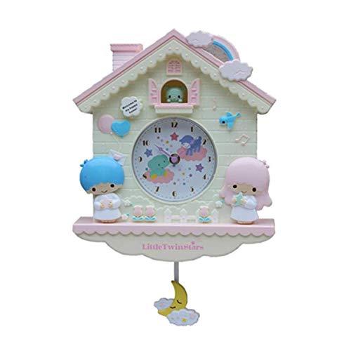 ZDTXKJ NOBCE 12 Inch Cartoon Swing Girls Kids Wall Clock Home Decro for Bedroom Livingroom