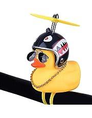Gspose Fietsclaxon, gele eend met helm en licht, fietsbel, fietsaccessoire, licht rubberen speelgoed, schattige fietsverlichting voor kinderen, peuters, volwassenen, fietsen