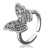 Aukmla Anillo de mariposa vintage de plata ajustable anillos abiertos con caja...