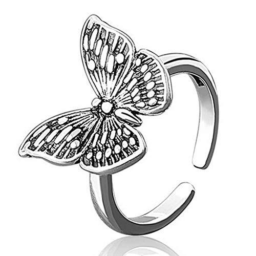 Aukmla Vintage-Schmetterling-Ring, Silber, verstellbar, offener Ring mit Geschenk-Box, Ring Schmuck für Frauen und Mädchen